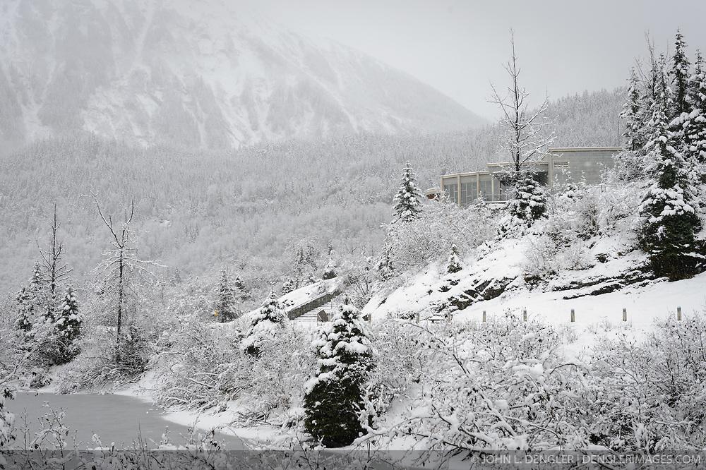 Mendenhall Glacier Visitor Center in snow - 2, Juneau, Alaska ...