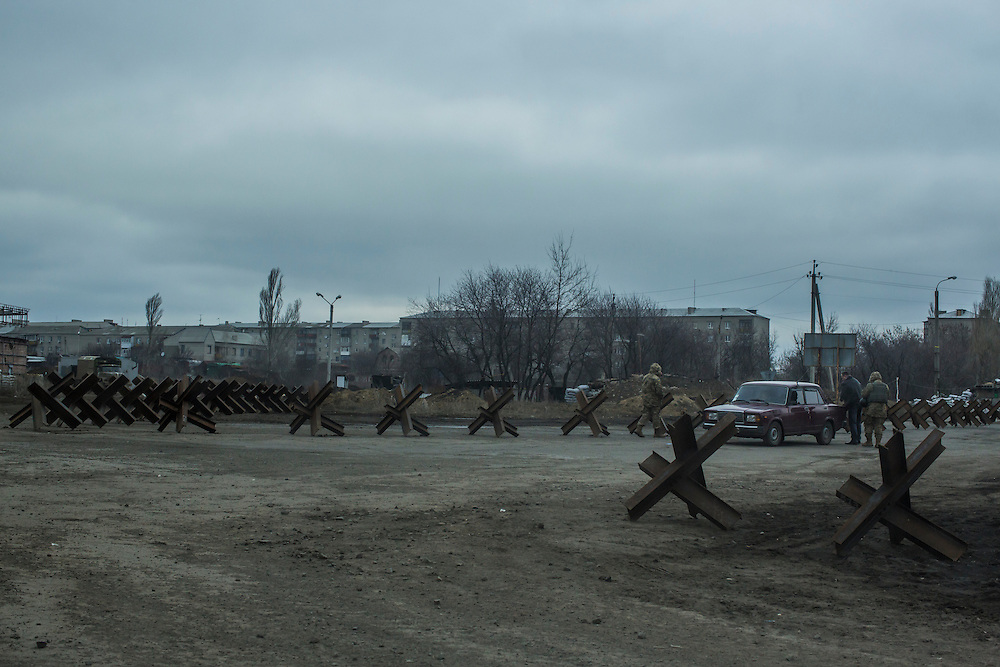 A Ukrainian military checkpoint on Thursday, February 11, 2016 in Popasna, Ukraine.