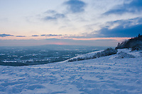 Snow scene over the Surrey Hills, England
