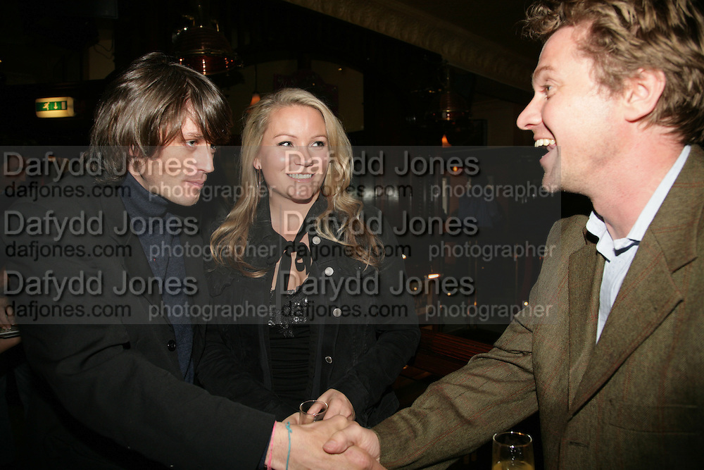 Sam McLean, Georgea Blakey and Mathew Racher, PJ's Annual Polo Party . Annual Pre-Polo party that celebrates the start of the 2007 Polo season.  PJ's Bar &amp; Grill, 52 Fulham Road, London, SW3. 14 May 2007. <br />