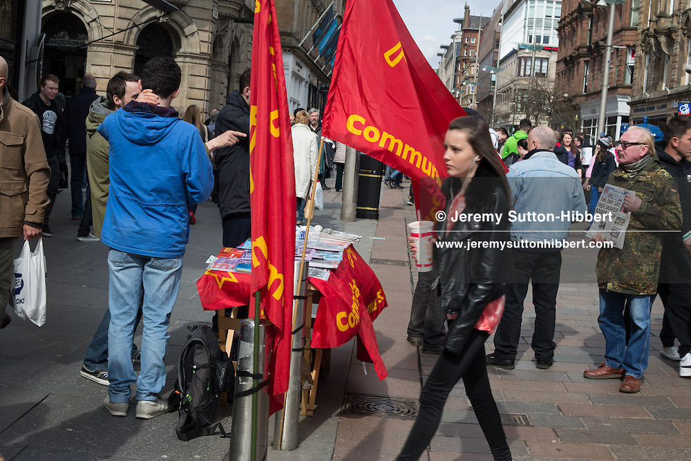 Communist Party of Britain (Scottish committee) canvasing for support in Buchanan Street, in Glasgow, Scotland, on Saturday 13th April 2013.