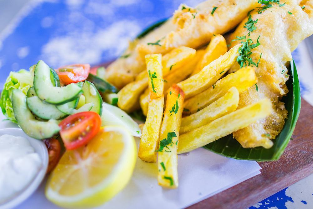 Old Man's Fish & Chips: Beer battered barramundi with hand cut chips, Asian slaw, tartare & lemon.