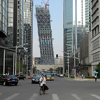 CCTV tower under construction, Beijing, China.