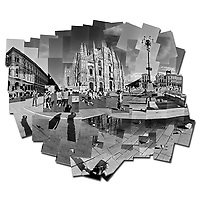 Black and white photo collage of the Duomo in Milan, Italy.
