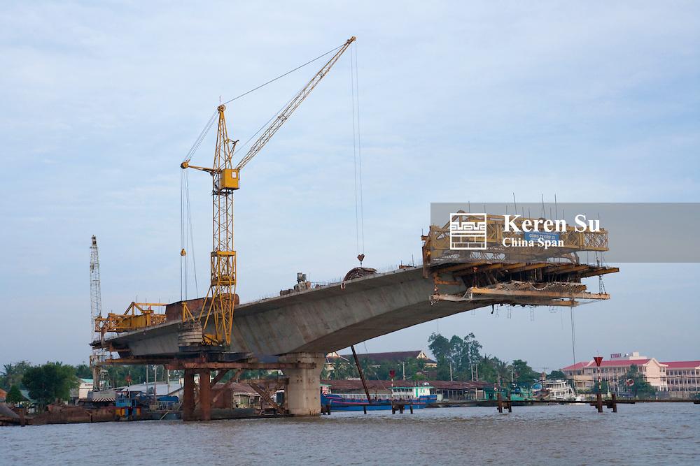 Building bridge on the Mekong River.