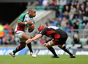 Twickenham, GREAT BRITAIN,  Right, Saracens, Hugh VYVYAN, gets down low, to execute his tacke on Quins, Jordan TURNER-HALL, during the Guinness Premiership match,  Saracens vs Harlequins, at Twickenham Stadium, Surrey on Sat 06.09.2008. [Photo, Peter Spurrier/Intersport-images]