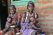 Two women with their babies sit in a local hospital in Boma - Jonglei State - South Sudan. 27 March 2013