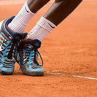 01 June 2007: Details of French player Gael Monfils sneakers as he serves to Argentinian player David Nalbandian during the French Tennis Open third round match won by David Nalbandian 7-6, 5-7, 6-4, 7-6, at Roland Garros, in Paris, France.