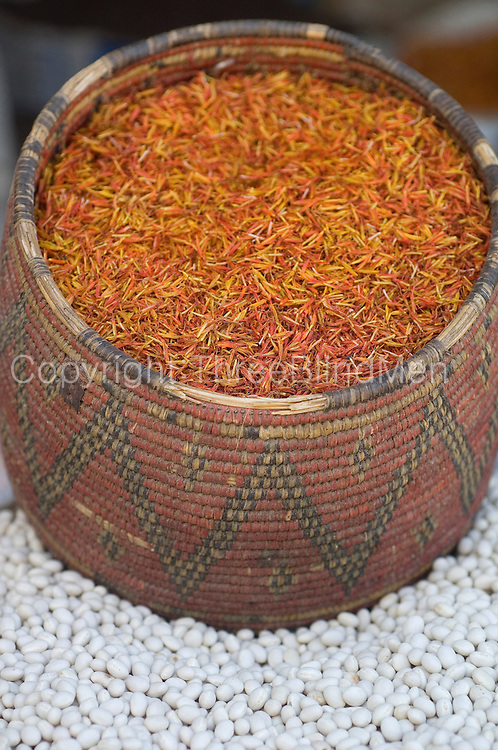A basket filled with saffron.