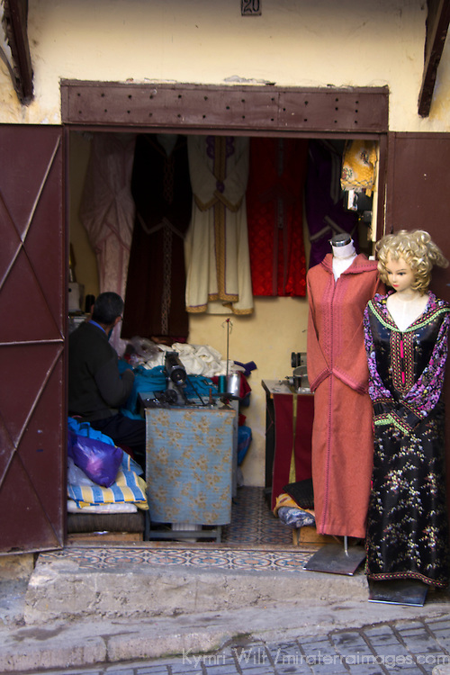 Africa, Morocco, Fes. Fes tailor shop.