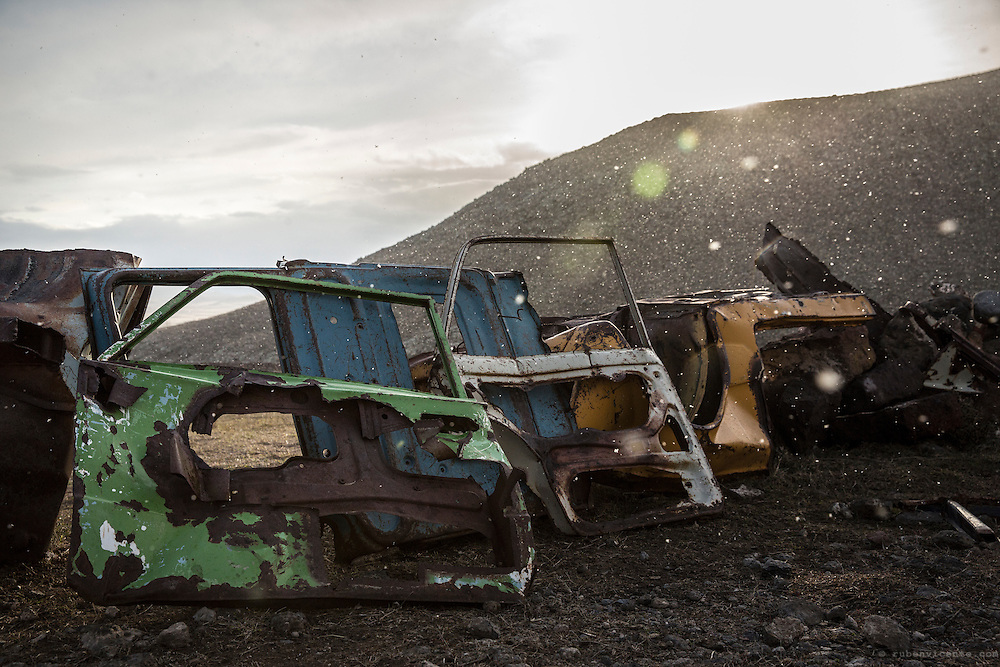 Old soviet car doors installation on a hill near Mastara. Armenia