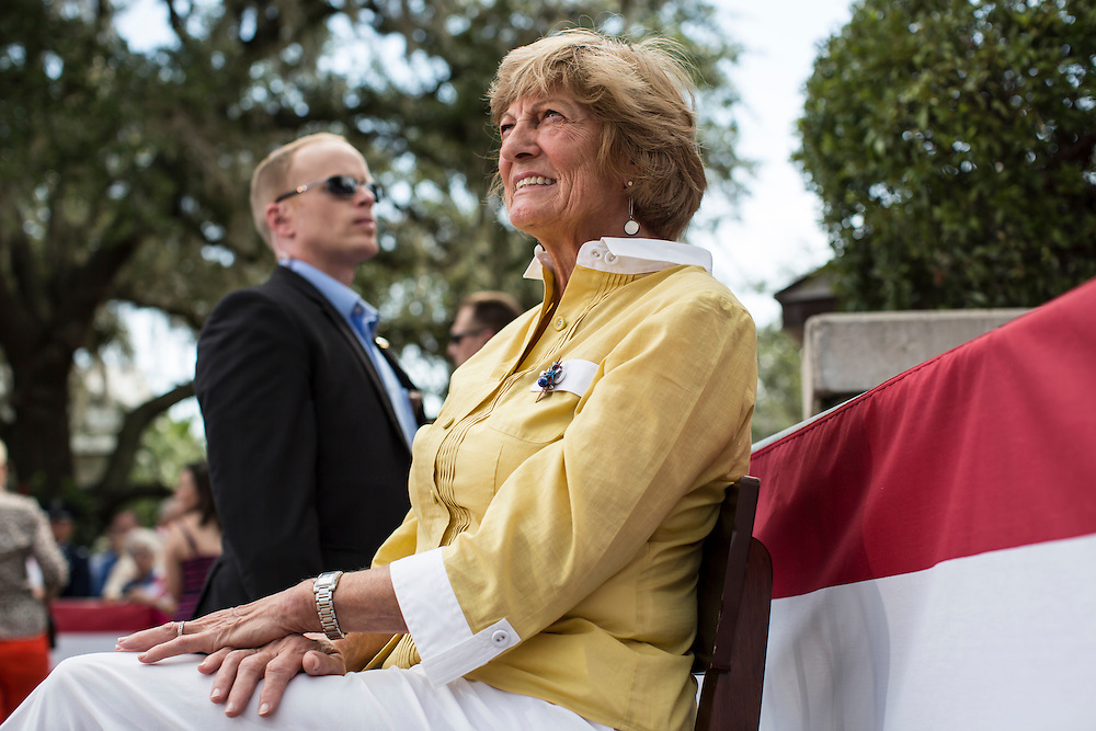 Betty Douglas, the mother of Republican Vice Presidential candidate Paul Ryan (R-WI), listens as her son speaks during a campaign rally on Saturday, August 18, 2012 in The Villages, FL.