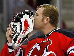 Nov 1, 2008; Newark, NJ, USA; New Jersey Devils goalie Martin Brodeur (30) kisses the initials of his children before the Devils games against the Atlanta Thrashers at the Prudential Center.