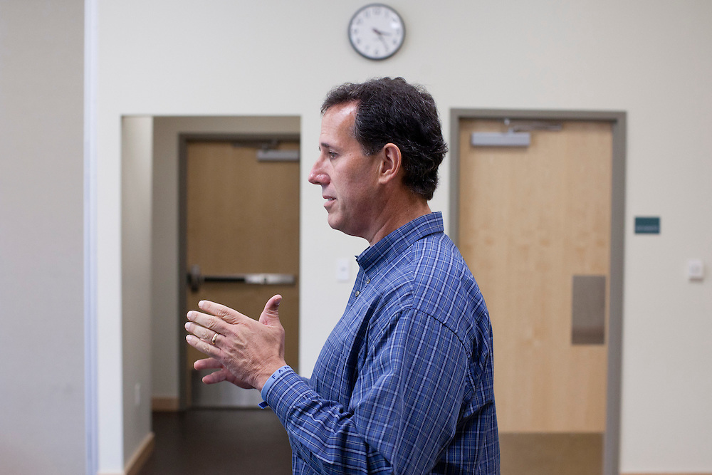 Republican presidential hopeful Rick Santorum campaigns on Friday, August 5, 2011 in Grinnell, IA.