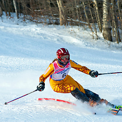 Woman Slalom racer, FIS race in Mont Gabriel, Quebec, Canada