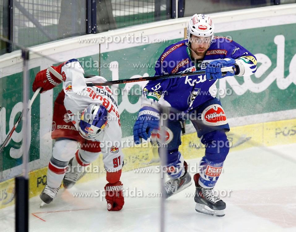 17.02.2015, Stadthalle, Villach, AUT, EBEL, EC VSV vs EC Red Bull Salzburg, Plazierungsrunde, im Bild v.l. Dominique Heinrich (EC RBS) und Eric Hunter (VSV) // during the Erste Bank Icehockey League placement round match between EC VSV vs EC Red Bull Salzburg at the City Hall in Villach, Austria on 2015/02/17, EXPA Pictures © 2015, PhotoCredit: EXPA/ Oskar Hoeher