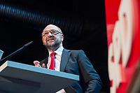 22 MAR 2017, BERLIN/GERMANY:<br /> Martin Schulz, SPD Parteivorsitzender und Spitzenkandidat der SPD zur Bundestagswahl, haelt eine Rede auf dem Neumitgliedertreffen der Berliner SPD, Festsaal Kreuzberg<br /> IMAGE: 20170322-02-095<br /> KEYWORDS: Martin Schulz, speech, Kanzlerkandidat, candidate
