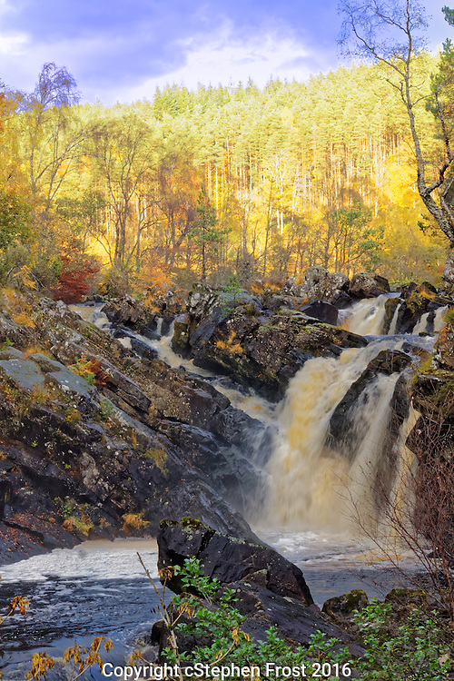 A Scottish Waterfall, the Rogie Falls, in Autumn.<br /> The Rogie Falls are on the Black Water, a river in Ross-shire in the Highlands of Scotland.