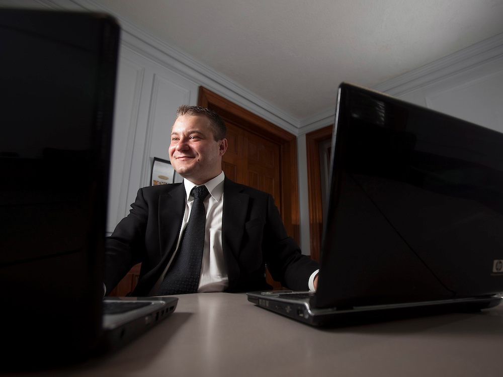 London, Ontario ---10-09-10--- Radu Bolohan, an MBA student at the Richard Ivey School of Business in London, Ontario and formerly of RBC Dexia now invests online.<br /> GEOFF ROBINS Toronto Star