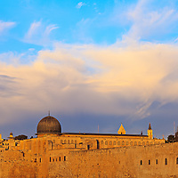 Al Aqsa mosque on the Temple Mount in the Old City of Jerusalem around sunrise.