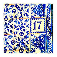 17, seventeen, diecisiete, number, blue and white, tiles, patterns, Mexican patterns, Mexican decoration