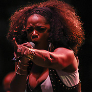 American R&B and soul singer, song writer Leela James performs during the 27th annual DuPont Clifford Brown Jazz Festival Friday, June 19, 2015, in the Rodney Square section of Wilmington, Delaware.