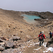 Climbing down to  the  Berge', Ruales, Oleas Refuge on Mt  Cayambe in Northern, Ecuador.