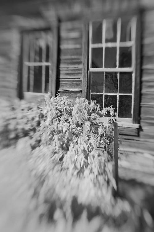 Distressed Wood Structure Porch - Bodie, CA - Lensbaby - Infrared Black & White