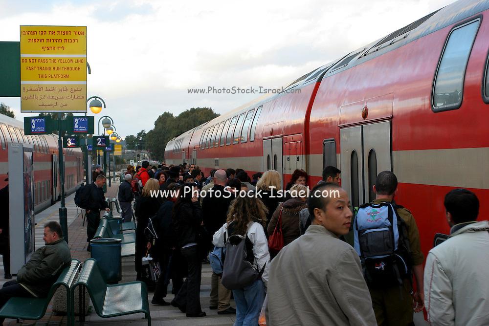 Israel, Benyamina train station, People are getting on the train
