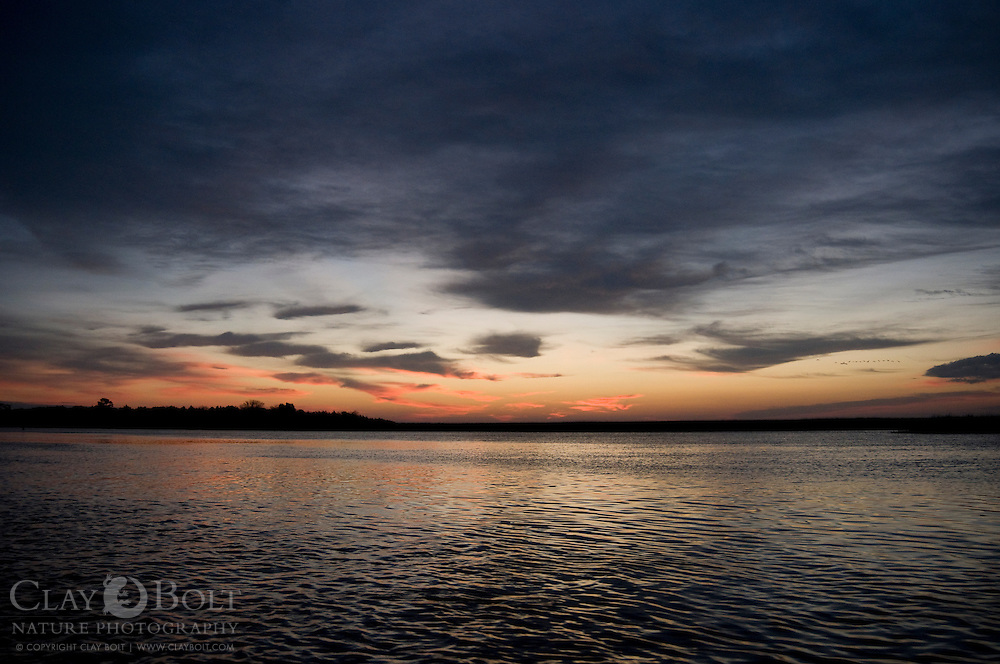 Sunrise over Jeremy Island, Site of Oyster Castles, McClellanville, SC