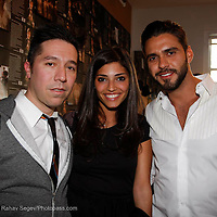"""Brian Wolk, Amanda Setton and Lorenzo Martin attend the opening of """"Lady"""" by Douglas Friedman at the Ruffian Gallery on April 23, 2009 in New York City."""