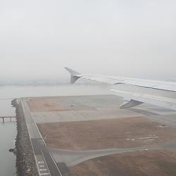 Foggy landing in San Francisco.