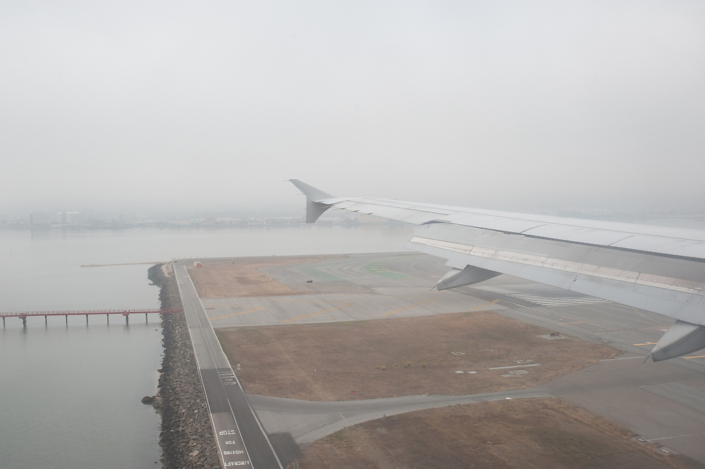 Foggy landing in San Francisco.