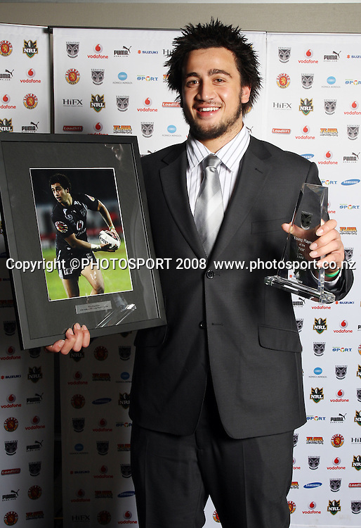 Ben Matulino. Vodafone Warrior's annual awards, Sky City Convention Centre, Auckland. 16 September 2008. Photo: Andrew Cornaga/PHOTOSPORT