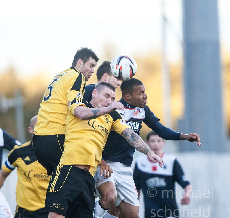 Livingston Calum Fordyce,  Livingston Martin Scott andf Falkirk's Phil Roberts.<br /> Falkirk 4 v 1 Livingston, Scottish Championship game played today at the Falkirk Stadium.
