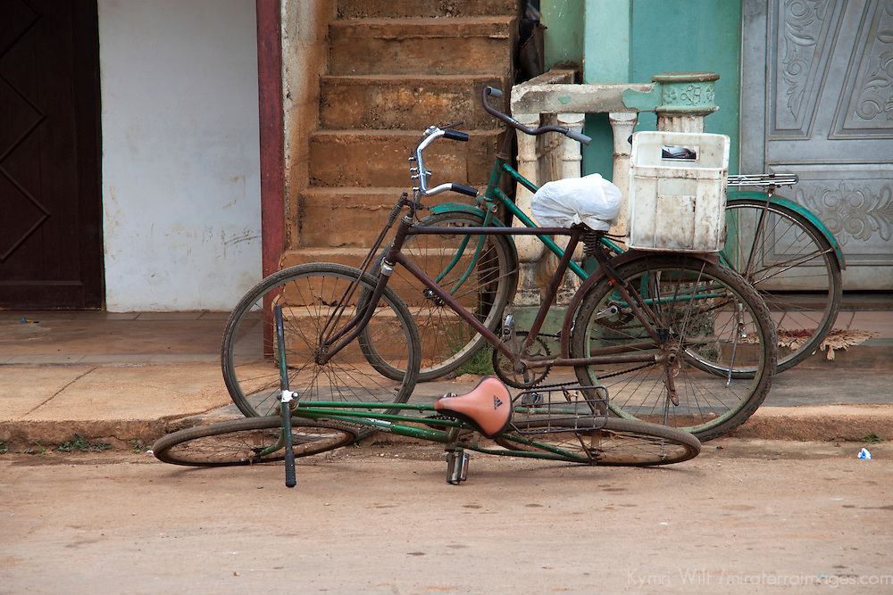 Central America, Cuba, Remedios. Cuban bicycles resting in Remedios.