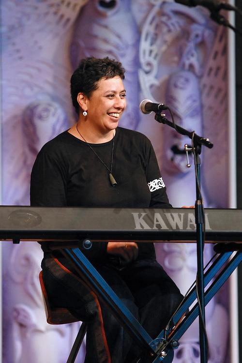 Mahinarangi Tocker performs at Te Papa Marae in Wellington on Saturday 28 June 2003.