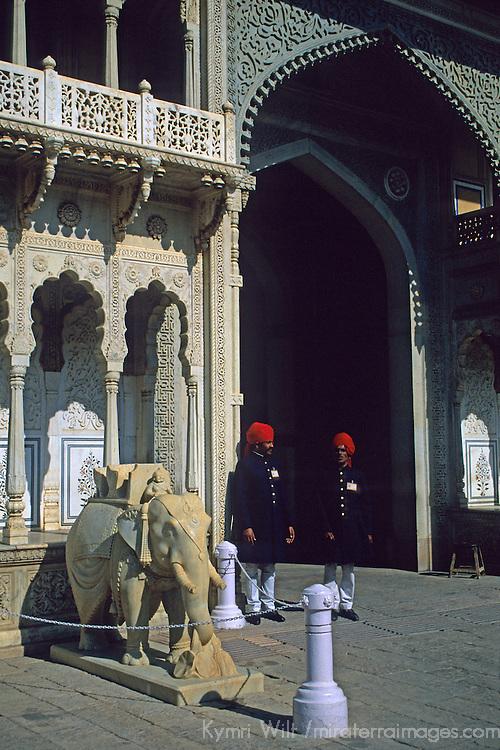 Asia, India Jaipur. Guards of the Jaipur Palace.