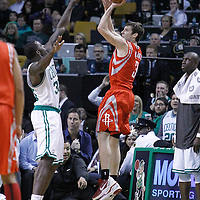 06 March 2012: Houston Rockets point guard Goran Dragic (3) takes a jumpshot to force the overtime during the Boston Celtics 97-92 (OT) victory over the Houston Rockets at the TD Garden, Boston, Massachusetts, USA.