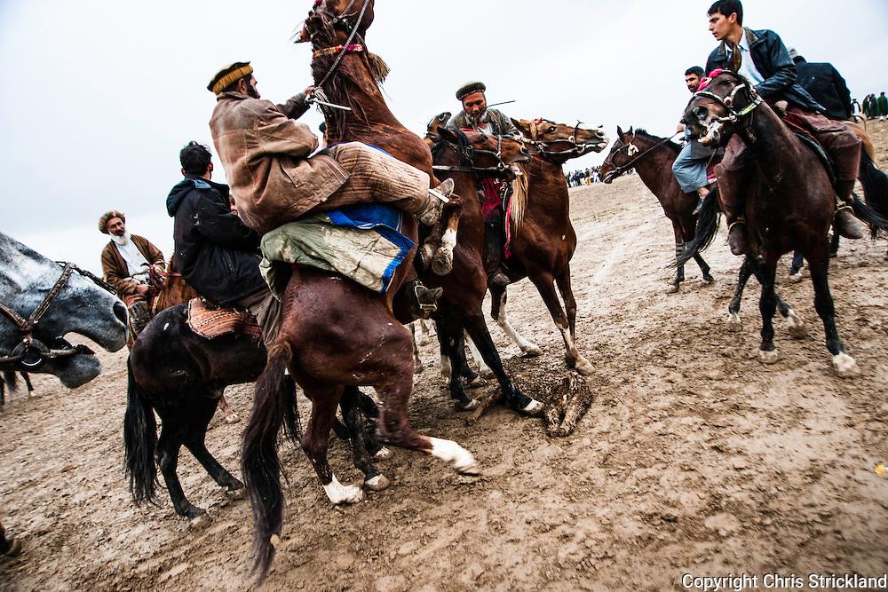 Pul-i-Khumri, Baghlan, Afghanistan, 2010. Afghan men playing the traditonal Asian sport of Buzkashi.