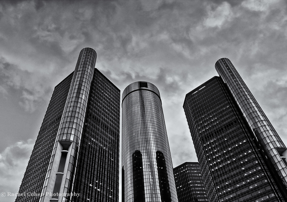 &quot;RenCen in Siver&quot; B&amp;W<br /> <br /> The beautiful RenCen, or GM Renaissance Center located in Detroit Michigan.<br /> A wonderful and dramatic black and white image of the world headquarters for General Motors.<br /> Cities and skyscrapers by Rachel Cohen