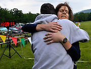 Amy Sproston, from Washington D.C., hugs a friend after completing the Massanutten Mountain Trails 100 Mile run (MMT 100) May 17, 2008..Sproston was the first female finisher with a time of 26:08:57..The  MMT 100 is considered one of the toughest Ultra Marathons on the east coast. The  Massanutten Mountain Trails 100 Mile run (MMT 100) May 17, 2008.<br /> The  race is considered one of the toughest Ultra Marathons on the east coast.