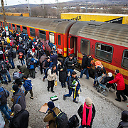 Refugees arrive at the Tabanovce Train Station, their stop before they cross the border into Serbia, on their way into Western Europe. Mercy Corps is among the organizations that provide critical information to refugees and arrange for and offer transport for vulnerable people, so they don't have to walk in difficult conditions. A daily average of 2,400 refugees have crossed into Serbia throughout the winter. Warmer months saw highs of 10,000 arrivals. There is no train schedule-the trains leave Gevgelija, Macedonia (at the Greece border) when they fill up, therefore over the winter two to three trains a day have been arriving in Tabanovce at varying times of day and in the middle of the night. Macedonia, January 2016.