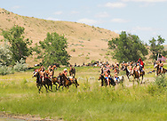 Custers Last Stand Reenactment, Crow Indian Reservation on Little Bighorn River, Warriors defeat Custer and 7th Cavalry