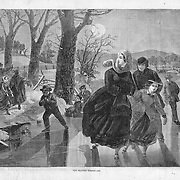 "Vintage Illustration form Harper's Weekly 1862 ""The Skating Season"" by Winslow Homer"