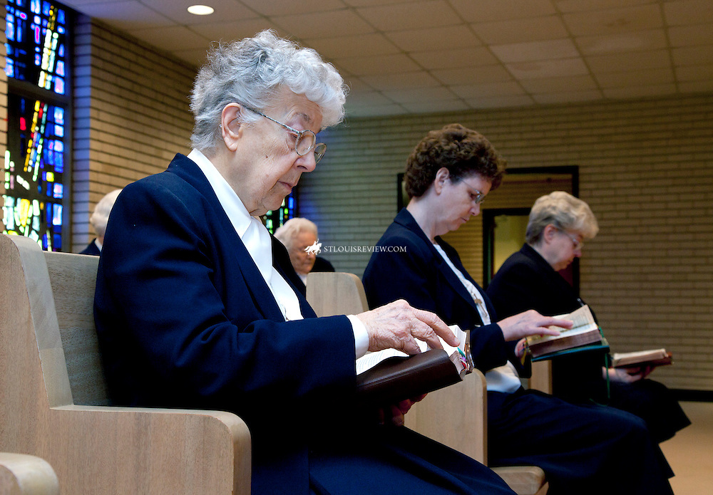 Sisters of the Visitation prayed at the Monastery Chapel on Ballas Road in Town and Country. From left in the front row are Sisters Lucy Beres, Barbara Greenwell and Veronica Haronik. Behind them sat Sisters Aloysia Heurich and Mary Aimee Dilschneider.