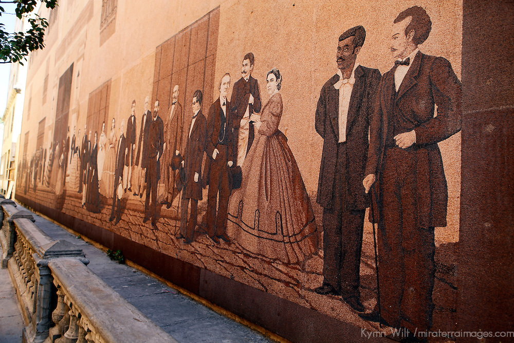 Central America, Cuba, Havana. Mural depicting colonial life and personalities in Cuba.