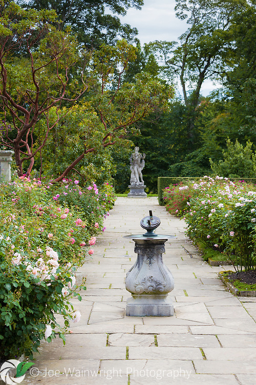 The Rose Terrace at Bodnant Gardens, North Wales - with a heliochronometer in the foreground.