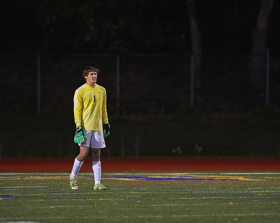 Quaker Valley High School vs Bald Eagle Area High School in the first round of the 2016 AA Pennsylvania Interscholastic Athletic Association (PIAA) Boys Soccer Championships at Hampton High School Stadium in Allison Park, PA, on November 8, 2016.  Quaker Valley went on to win the match 7-0.  Photo: Shelley Lipton.