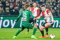 ROTTERDAM - Feyenoord - FC Groningen , Voetbal , Eredivisie , Seizoen 2016/2017 , Feijenoord stadion de Kuip , 11-02-2017 ,  Feyenoord speler Jan Arie van der Heijden (r) in duel met FC Groningen speler Desevio Payne (l)